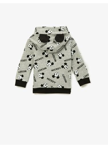 Koton Mickey Mouse Lisansli Baskili Kapüsonlu Uzun Kollu Sweatshirt Gri